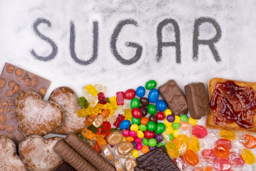 Food containing sugar. Too much sugar in diet causes obesity, di